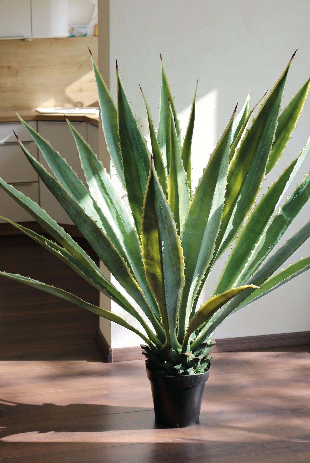 Künstliche Agave, getopft, 21 Blätter, 120 cm, grün-weiß