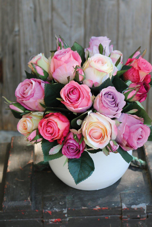 Künstlicher Freiland-Rosenstrauß, 24-fach, 28 cm, rosa-weiß