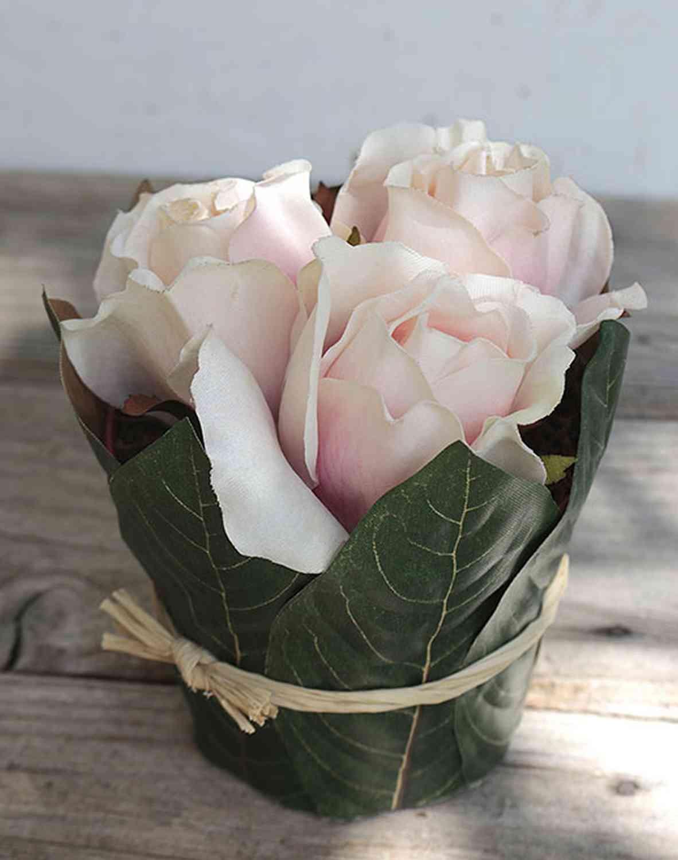 Künstliche Rosentopf mit Blättern, 3 Blüten, 13 cm, rosa