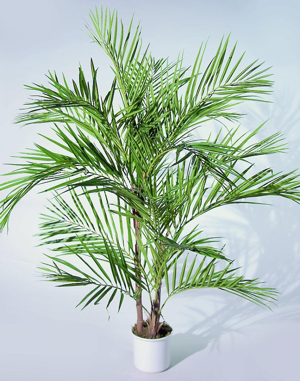 Künstliche Arecapalme, 90cm, 3-fach, getopft, grün