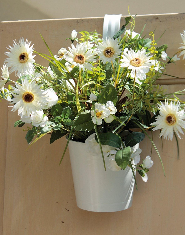 Künstliches Blumenbouquet im Hängtopf, 45 cm, weiß-grün