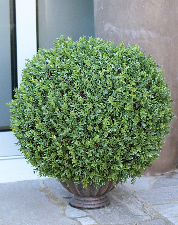 Künstliche Buchsbaumkugel aus Kunststoff, getopft, 60 cm, grün