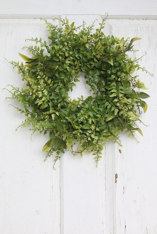 Künstlicher Blätterkranz, gemischt, Ø 30 cm, grün