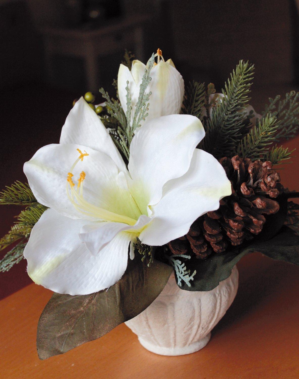 Künstliche Amaryllis-Arrangement, getopft, 25 cm, Ø 30 cm, creme-weiß