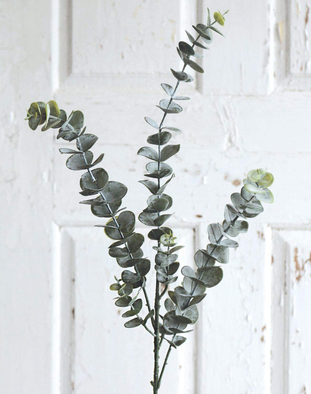 Künstlicher Eukalyptuszweig, 78 cm, grün-grau