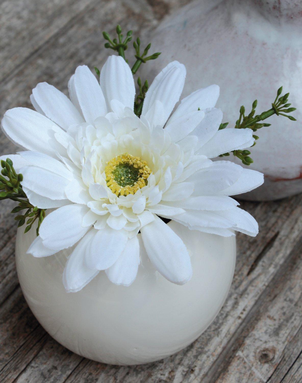 Künstliche Gerbera in Keramiktopf, 12 cm, creme-weiß