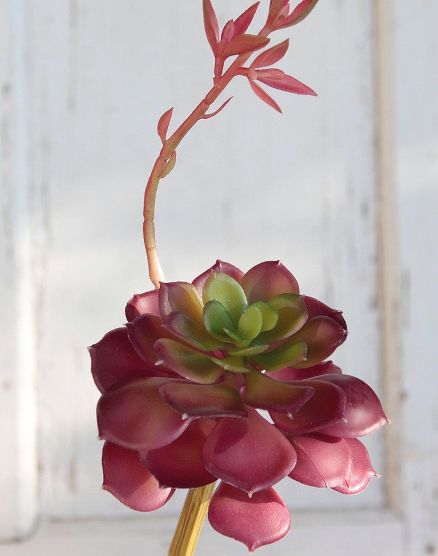Künstliche Echeveria auf Steckstab, 15 cm, Ø 10 cm, grün-burgunderrot