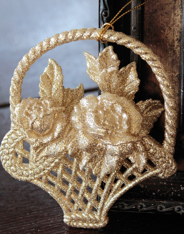Deko Blumenkorb, Acryl, 12 cm, gold