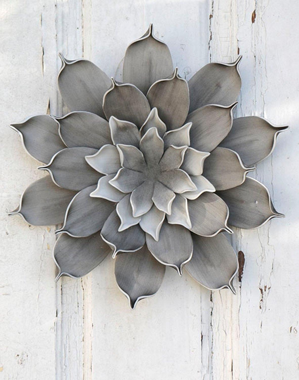 Künstliche Soft flower 'Blüte / Wanddeko', Ø 30 cm, grau