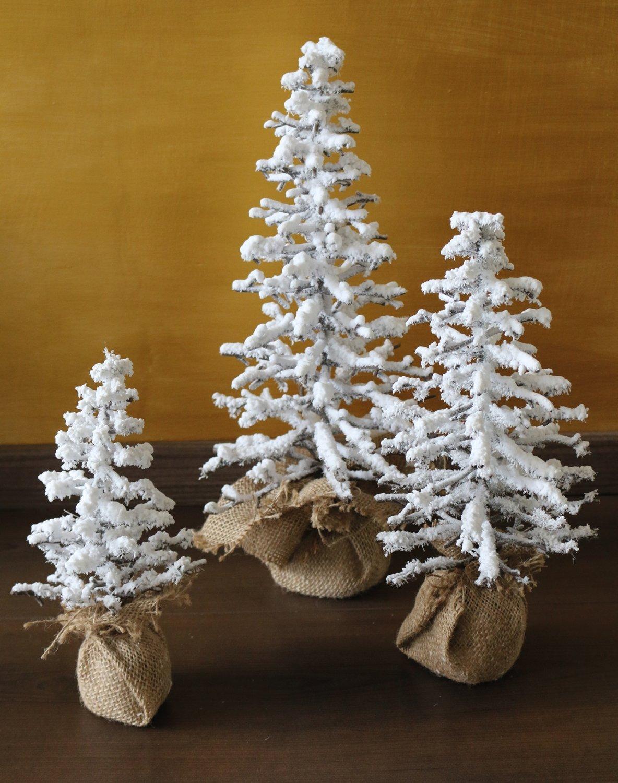 Künstlicher Weihnachtsbaum 'Schnee' im Jutesack, 46 cm, braun-weiß