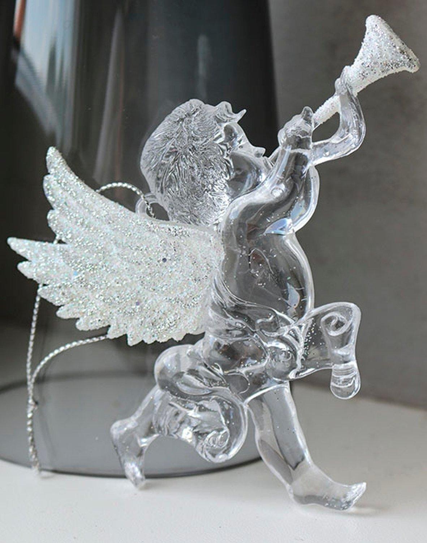 Deko Engel, Acryl, 2 Stück, 10 cm, weiß-silber