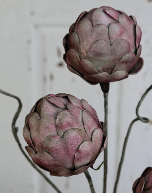 Künstliche Soft flower 'Artischocke', 60 cm, burgunder-grün