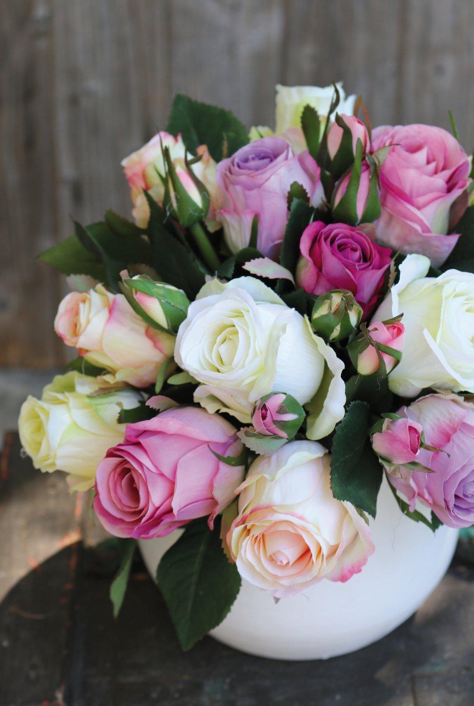 Künstlicher Freiland-Rosenstrauß, 24-fach, 28 cm, creme-rosa