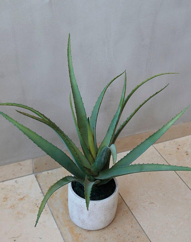 Künstliche Aloe, getopft, 43 cm, grün