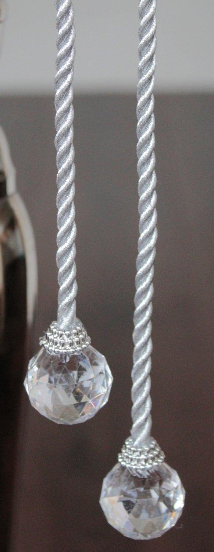 Deko Kordel mit Kugeln / Tropfen, 2 Stück, 40 cm, silber
