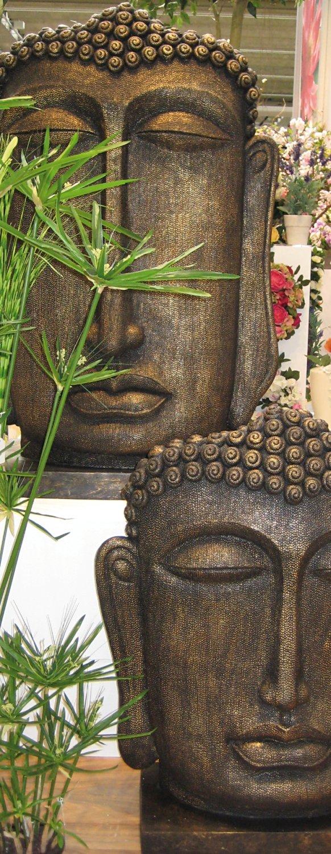 Deko Buddhakopf aus Fiberglas, 93 x 75 x 28 cm, braun