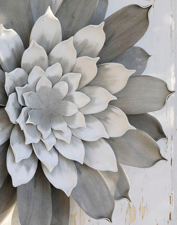 Künstliche Soft flower 'Blüte / Wanddeko', Ø 42 cm, grau