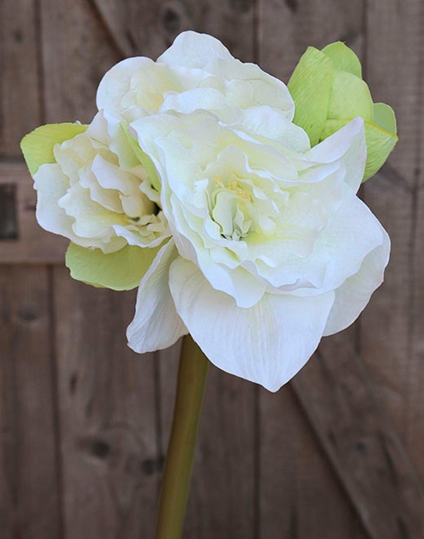Künstliche Amaryllis, 4-fach, 80 cm, weiß-grün
