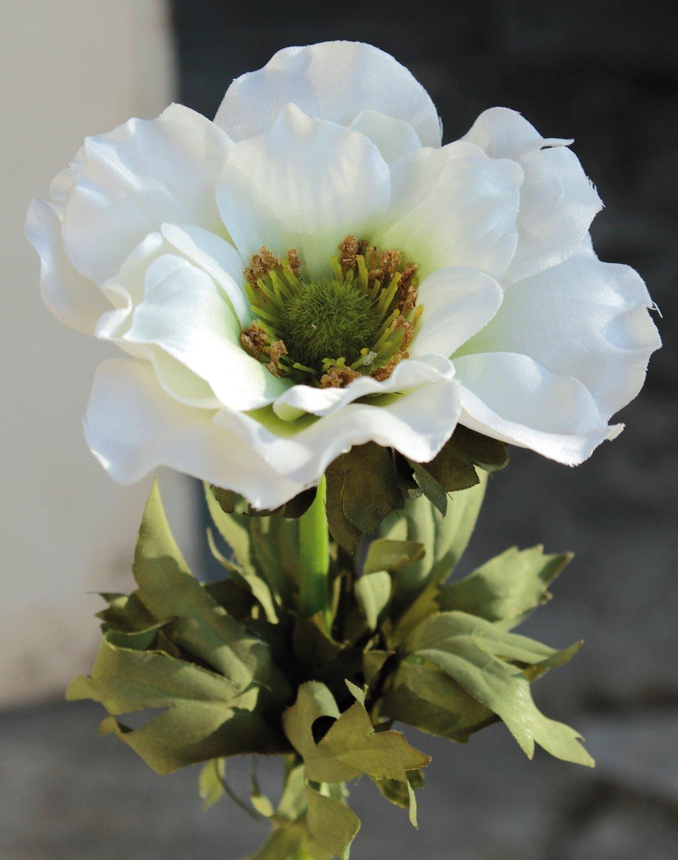 Künstliche Anemone, 35 cm, creme-weiß