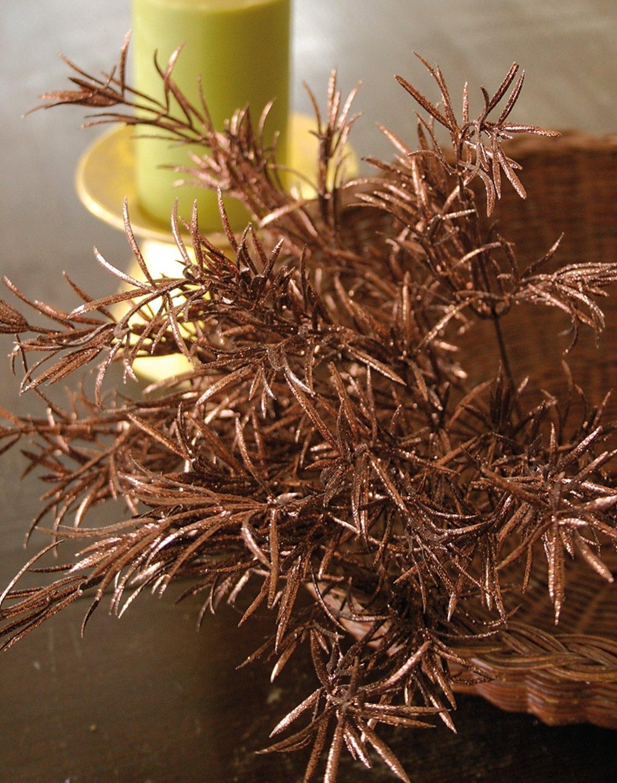 Künstlicher Grasbusch mit Glitter aus Kunststoff, 7-fach, 49 cm, braun