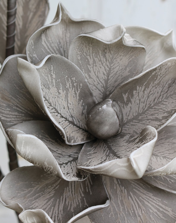 Künstliche Soft flower 'Blüte', 115 cm, grau