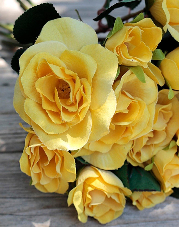 Künstlicher Rosenbund, 28 cm, 16-fach, gelb