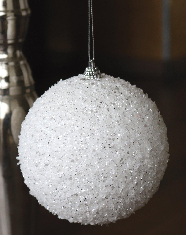 Deko Kugel mit Glitter, Ø 12 cm, weiß-silber