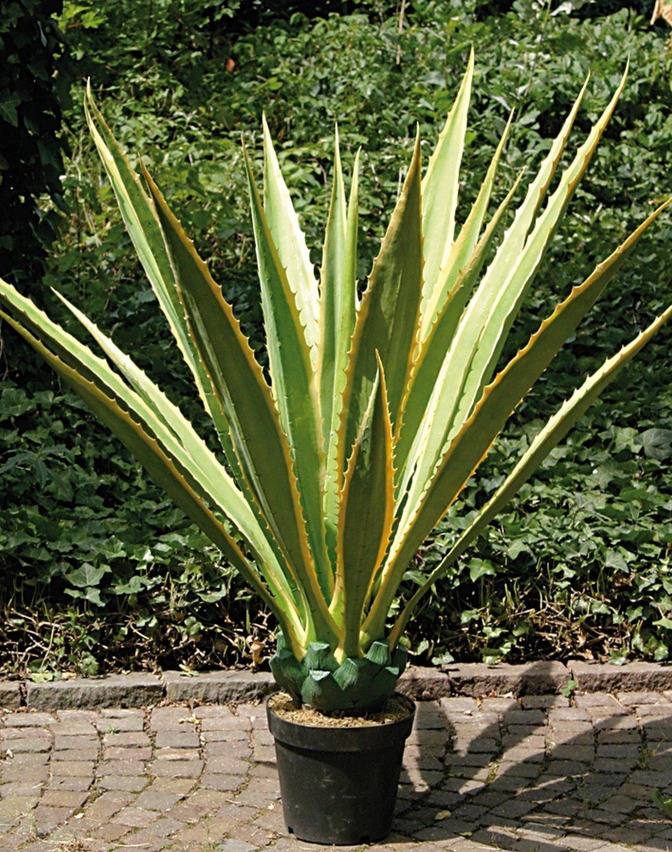 Künstliche Agave, getopft, 21 Blätter, 120 cm, grün-gelb