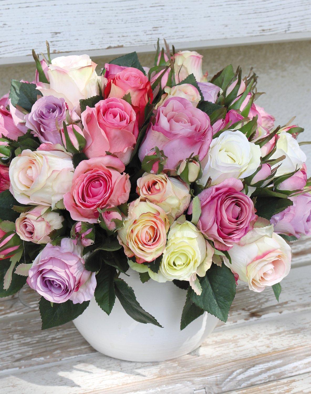 Künstlicher Freiland-Rosenstrauß, 16-fach, 28 cm, creme-rosa