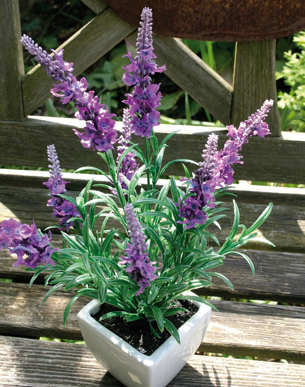 Künstlicher Lavendel, getopft, 35 cm, hellviolett-dunkelviolett