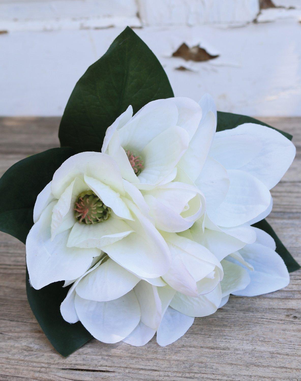 Künstlicher Magnolienbund, 7-fach, 31 cm, creme-weiß