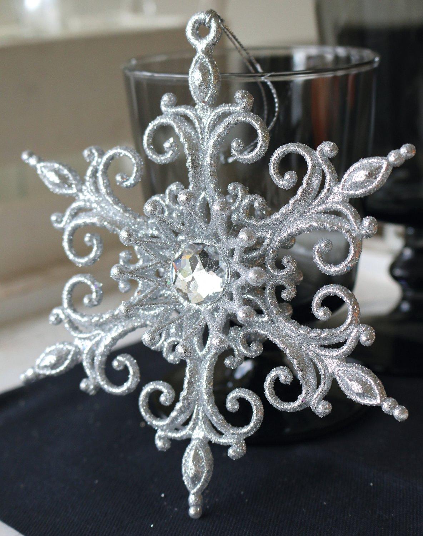 Deko Ornament, Acryl, Ø 14 cm, silber