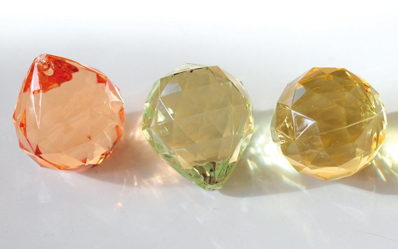 Deko Diamanten / -kugeln, 3 Farbtöne, 4 cm, gelb