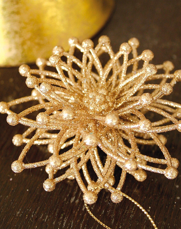 Deko Eisblume, Acryl, mit Glitter, Ø 9 cm, gold