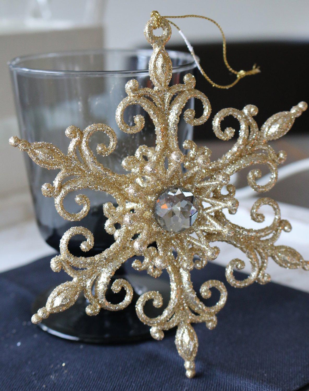 Deko Ornament, Acryl, Ø 14 cm, gold