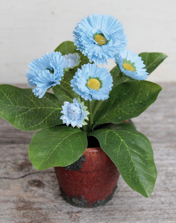 Künstliche Bellis, getopft, 6-fach, 15 cm, hellblau