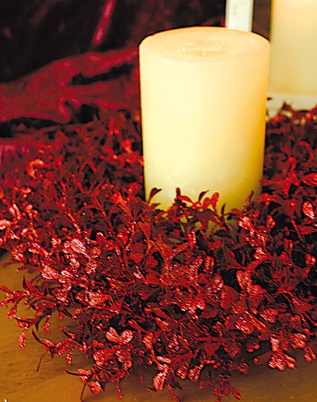 Künstlicher Buchsbaum Kranz mit Glitter aus Kunststoff, Ø 30 cm, rot