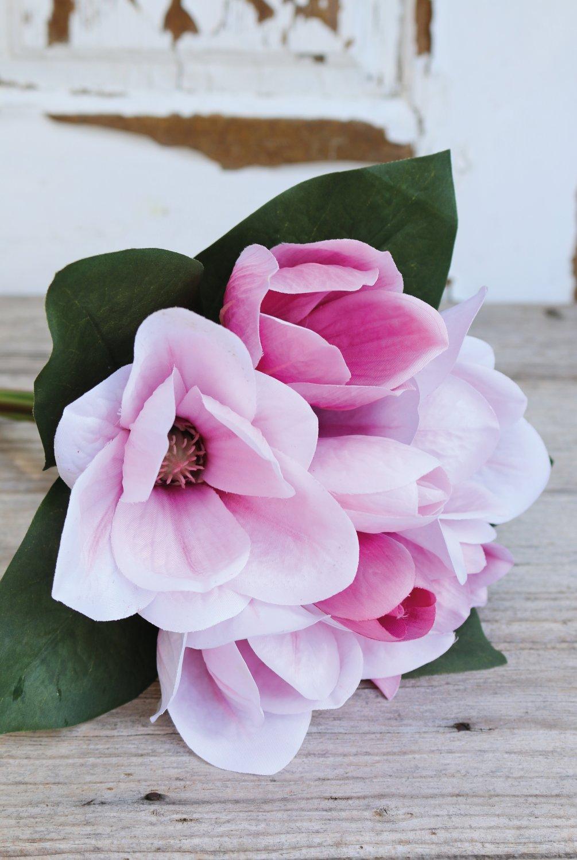 Künstlicher Magnolienbund, 7-fach, 31 cm, pink